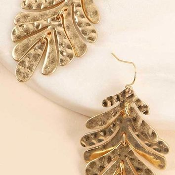 Tropical Leaf Hammered Goldtone Earrings