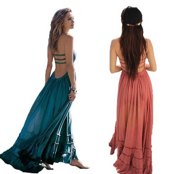 Summer Dress Women Bohemian Sleeveless People Sexy Boho Dresses Backless Party Hippie Bandage Beach Dress Vestidos