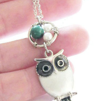 Chryscolla White Owl Necklace - Owl Necklace - Cute Owl Necklace - Owl Jewelry - Stocking Stuffers for Women - Gifts for Girls - Teen Gift