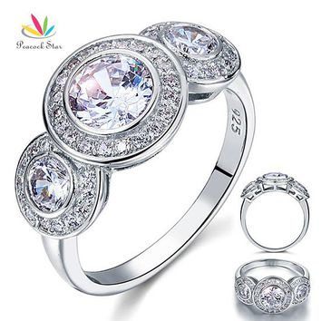 Peacock Star Art Deco 2.5 Carat Solid 925 Sterling Silver Wedding Engagement Ring Jewelry CFR8089