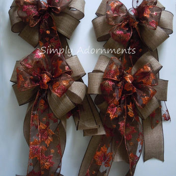Rustic Burlap Fall Leaves Wedding Pew Bow Thanksgiving Wreath Bow Fall Autumn Wedding Church Pew Bow