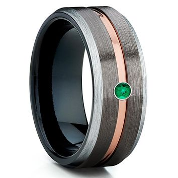 Emerald Tungsten Ring - Gunmetal Tungsten Ring -  Rose Gold Tungsten Ring