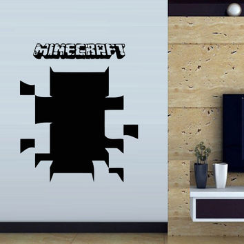 Wall decal vinyl art decor sticker design Minecraft video game Creeper crack hole bedroom mural (m1062)