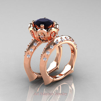 Classic 14K Rose Gold 3.0 Ct Black and White Diamond Greek Galatea Wedding Ring Wedding Band Bridal Set AR114S-14KRGDBD