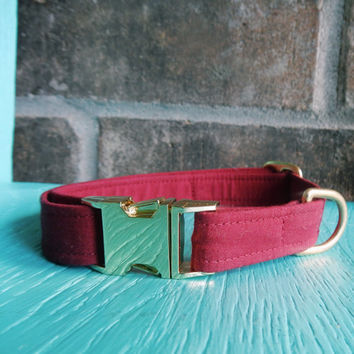 Maroon Dog Collar, Dog Collar, Solid Color Dog Collar