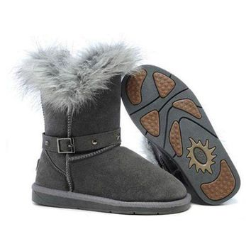 ICIKIN2 Ugg Boots Black Friday Sale Fox Fur Buckled 5558 Grey For Women 94 09