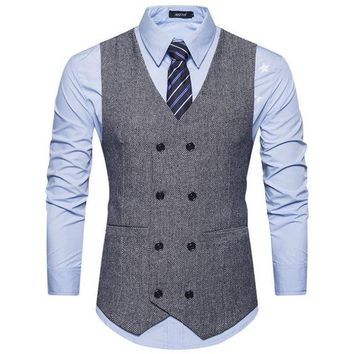 Mens Retro Waistcoat Formal Business Suit Vest Slim