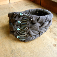 SALE: 20 Percent OFF the ENTIRE shop - Slate and Turquoise Braided Jersey Knit Cuff