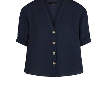 Navy V-Neck Boxy Shirt | New Look