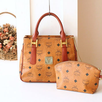 MCM Bag Visetos Cognac Brown monogram authentic tote vintage handbag with pouch