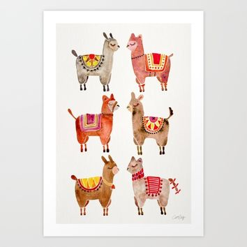 Alpacas Art Print by Cat Coquillette