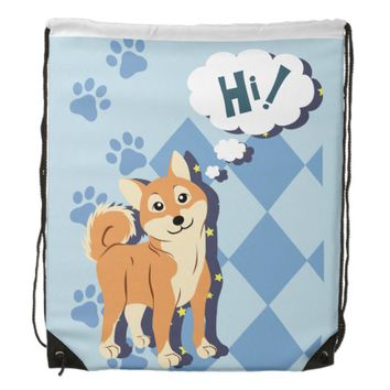 Thoughtful Shiba Inu Drawstring Bag