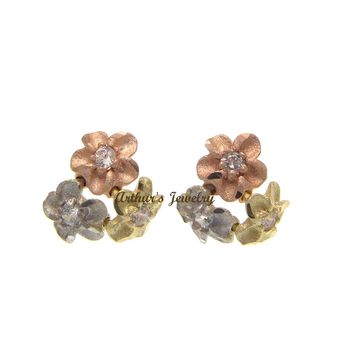 9MM SOLID 14K TRICOLOR GOLD HAWAIIAN DIAMOND CUT PLUMERIA FLOWER STUD EARRINGS
