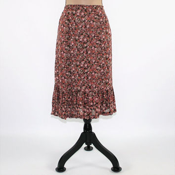 90s Floral Skirt Women Large XL Boho Skirt Midi Skirt Rayon Grunge Skirt Vintage Clothing Womens Clothing