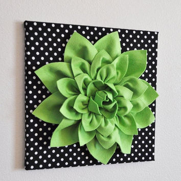 "MOTHERS DAY SALE Wall Flower -Chartreuse Green Dahlia on Black and  White Polka Dot 12 x12"" Canvas Wall Art- 3D Felt Flower"