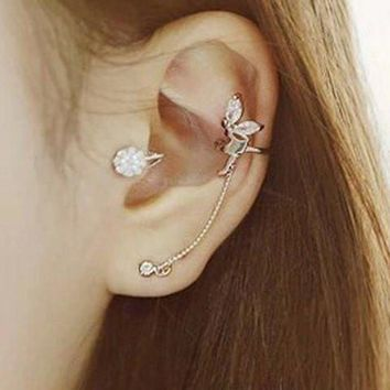 ONE PIECE Chic Rhinestone Embellished Angle's Wing Shape Ear Cuff For Women   Golden