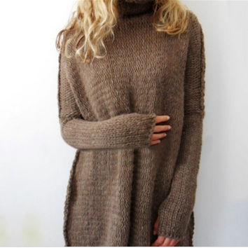 Fashion Autumn and Winter Casual Gray Irregular Pullover Turtleneck Sweater for Women +Free Gift Necklace