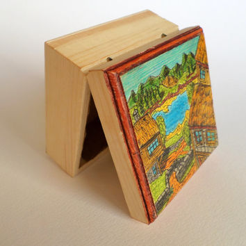 Handpainted box, keepsake box , art wooden box with magnet closing and textiled insides