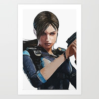 JILL Valentine - Armed and Beautiful Art Print by naumovski