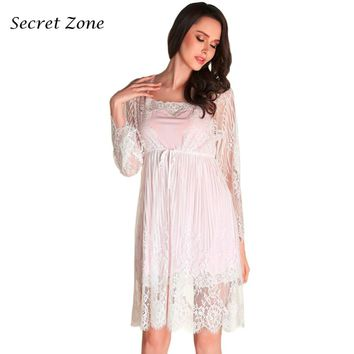 Secret Zone Superfine Fiber Sexy Eyelashes Lace Women Robe Set Soft Breathable Elegant Cardigan+V-Neck Nightgown Set