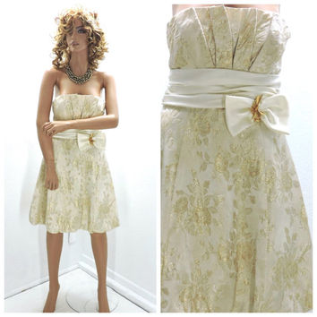 Vintage 80s gold brocade cocktail dress size M, Betsy and Adam, strapless gold formal party dress, SunnyBohoVintage