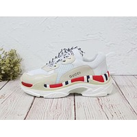 Balenciaga X Gucci Mixed Colors Retro New Trending Women Stylish Personality Sport Running Shoes Sneakers White&Apricot&Red I-MLDWX
