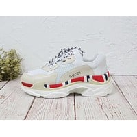 Balenciaga Mixed Colors Retro New Trending Women Stylish Personality Sport Running Shoes Sneakers White&Apricot&Red I-MLDWX