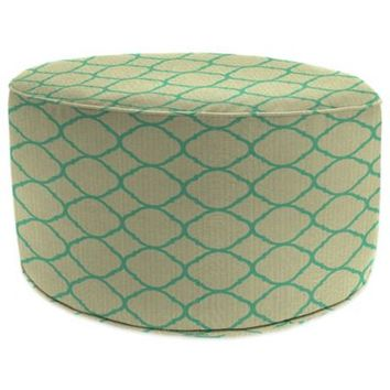 SUNBRELLA® Outdoor Round Pouf Ottoman in Accord Jade