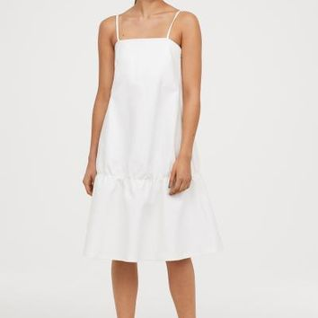 Flounced Dress - White - Ladies | H&M US