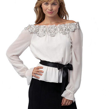 Adrianna Papell Off the Shoulder Chiffon Blouse
