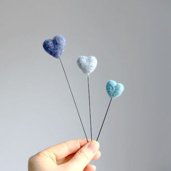 3 needle felted blue hearts on sticks // blue wool felted hearts - home decor - love needlecraft - love gift for her