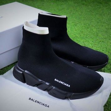 PEAP1 Balenciaga Speed Stretch Knit Mid Sneakers All Black Socks Shoes