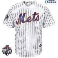 Jacob deGrom New York Mets #48 MLB Men's 2015 World Series Patch Cool Base Home Jersey (Small)