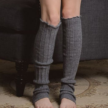 Super Warm & Cozy Gray Stretch Knit Lazy Day Leg Warmers in Thigh High Length Bohemian Hippie Boho Lounge Socks Cuffs