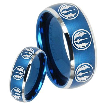 His Hers Multi Jedi Star Wars Dome Brushed Blue 2 Tone Tungsten Men's Ring Set
