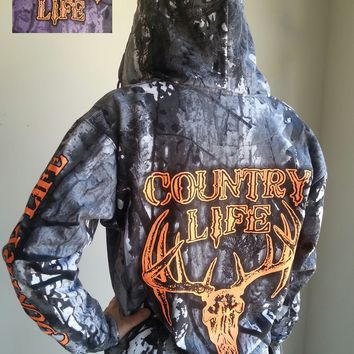 Country Life Outfitters Bone Camouflage Camo Realtree Deer Skull Head Hunt Vintage Unisex Hoodie