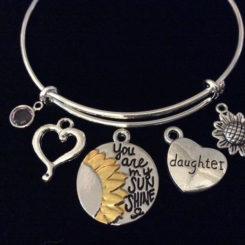 Custom June Birthstone Daughter You are my Sunshine Adjustable Bracelet Expandable Silver Wire Bangle Butterfly Two Toned Silver and Gold