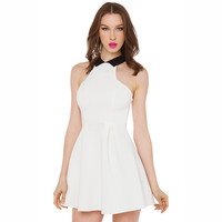 White Halter A-Line Pleated Mini Dress
