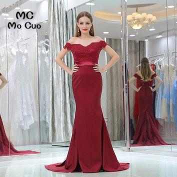 Burgundy Mermaid Prom dresses Off Shoulder Vestidos de fiesta dress for graduation Short Sleeve Beaded Evening Prom Dress
