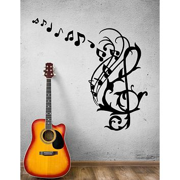 Wall Decal Melody Notes Music Plants Patterns Drawing Vinyl Sticker (ed1494)