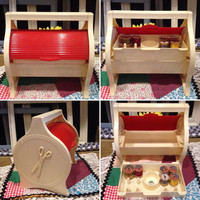 1940's RARE Red & White Child's Sewing Caddy with roll top for sewing supplies storage   Vintage Best Pat. Pend. U.S.A Early plastics