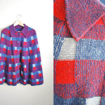 Vintage 60s Purple Red  Wool Knit Plaid Cape Shawl Poncho