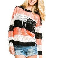 Big Pocket Knit Sweater in Black, Neon Orange and Ivory