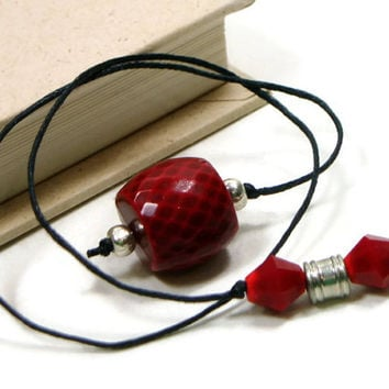 Book Thong Beaded Bookmark Red Silver Book Cord Book String Gift under 5 Teacher Gift Book Club Bible Bookmark Cookbook