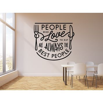 Vinyl Wall Decal Quote Eat Love Kitchen Pub Restaurant Stickers Mural (g1731)