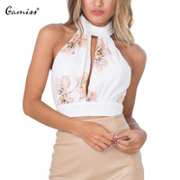 Gamiss Backless Lace Bow Floral Pattern Bustier Crop Top Sexy Sleeveless White Summer Halter Top High Neck Women Tank Top