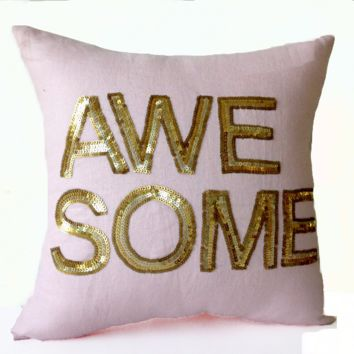 Handcrafted Throw Pillow Cover Gold Sequin Awesome Pillows Wedding Anniversary Birthday Gift