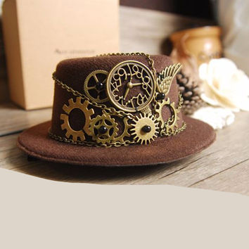 Brown Steampunk Gear Vintage Mini Top Hat