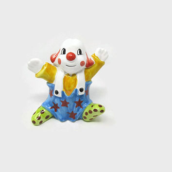 Ceramic Clown Bank Made in Italy, Colorful Clown Nursery Decor, Circus Clown Porcelain Coin Money Bank Marked Italy
