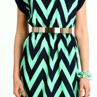 Mint Navy Capped Chevron Dress